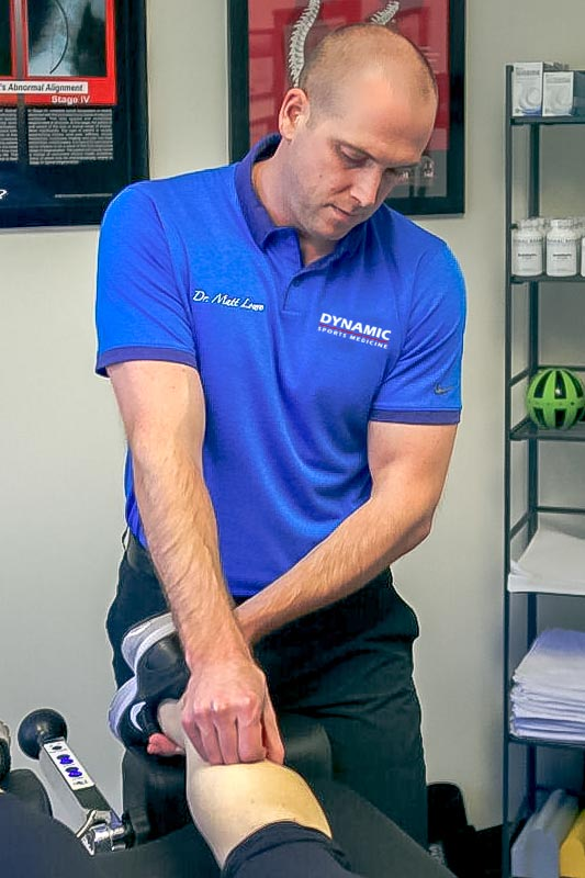 Dr. Matt performing Active Release Technique